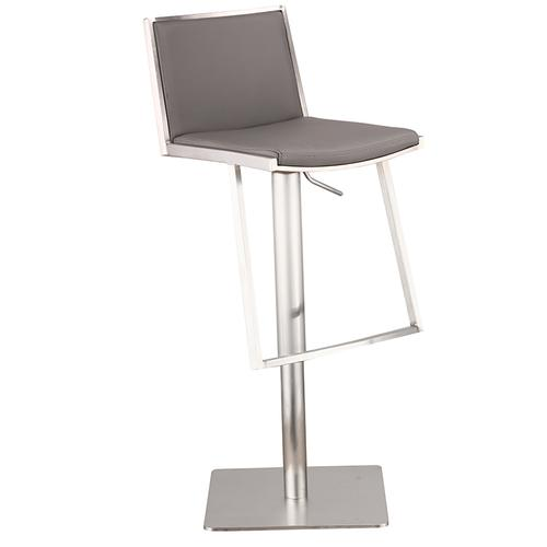 Ibiza Adjustable Brushed Stainless Steel Barstool in Gray Pu