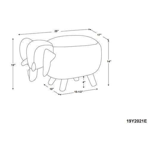 Upholstered Fabric Stool No Storage, Grey and Natural