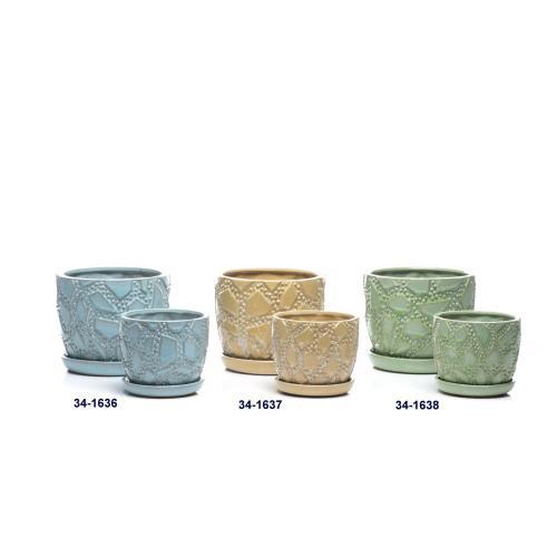 Alfresco Home - Maldives Petits Pots w/ attached saucer, Blue - Set of 2 (Min 4 sets)