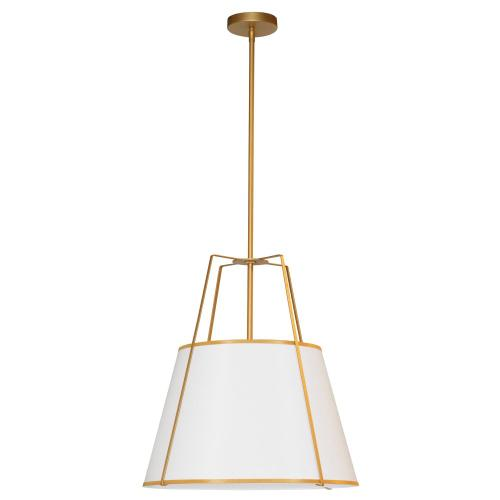 3lt Trapezoid Pendant Gold/white Shade W/ 790 Diff