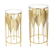 See Details - Gold Leaf Side Table with Mirror Top (2 pc. set)