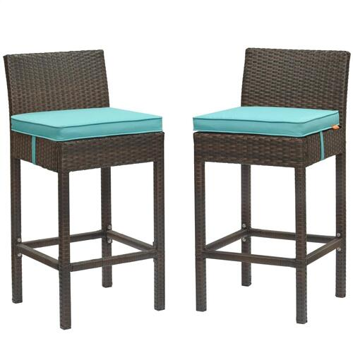 Conduit Bar Stool Outdoor Patio Wicker Rattan Set of 2 in Brown Turquoise