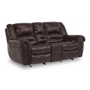 FlexsteelTown Power Reclining Loveseat with Console & Power Headrests