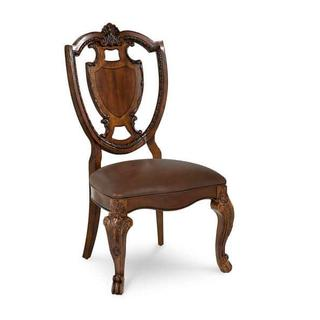 See Details - Old World- Shield Back Side Chair- Leather Seat