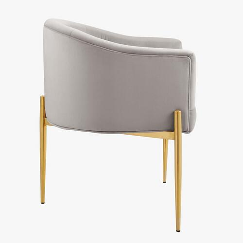 Savour Tufted Performance Velvet Accent Chair in Light Gray