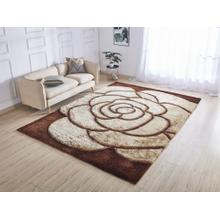 Soft Three Dimensional Polyester Viscose Hand Tufted 3D 317 Shag Area Rug by Rug Factory Plus - 2' x 3' / Gold Brown