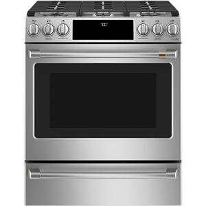 "Cafe Appliances  30"" Smart Slide-In, Front-Control, Gas Range with Convection Oven"