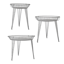 Distressed Grey Round Basket Side Table (3 pc. set)