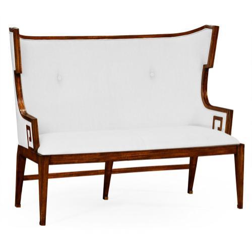 Greek Key Design Walnut Biedermeier Settee, Upholstered in COM