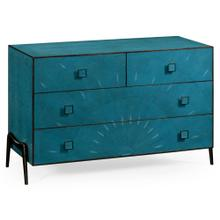 Teal faux shagreen and bronze legged chest