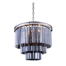 Sydney 9 light Polished nickel Chandelier Silver Shade (Grey) Royal Cut Crystal