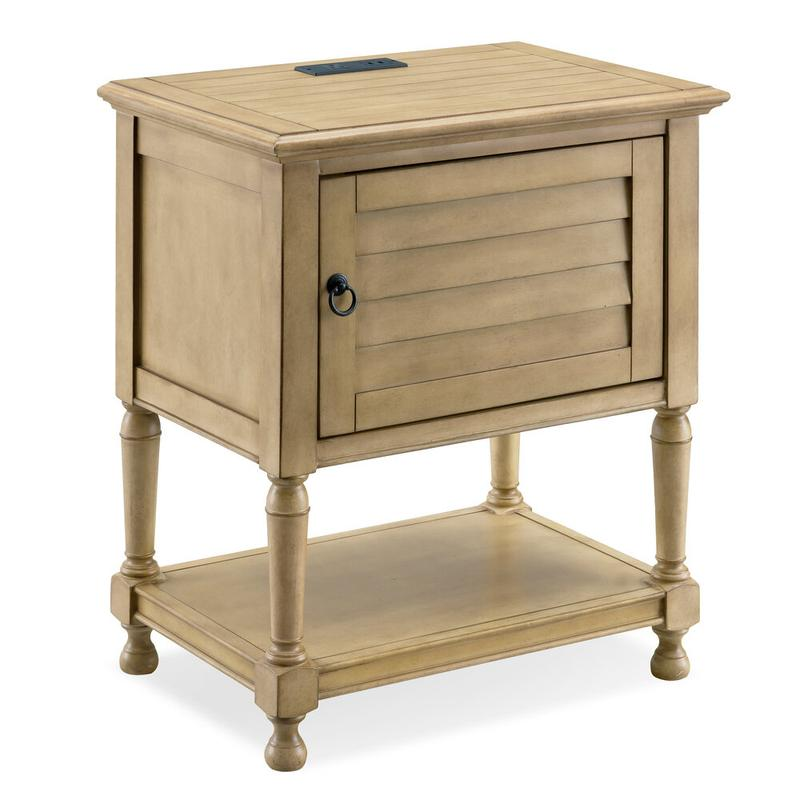 Louvered Door Desert Sand Night Stand/Side Table Cabinet with Top AC/USB Charging #9071-DS