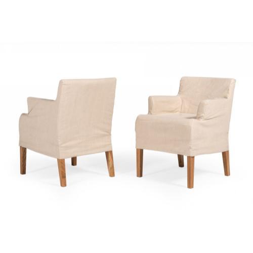 Modrest Axtell - Farmhouse Oatmeal Fabric Dining Arm Chair