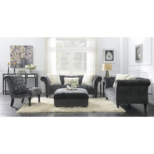 Hutton II Sofa Nailhead With 3 Pillows Charcoal