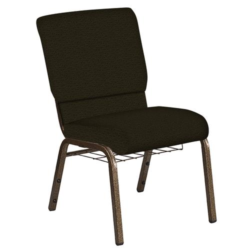 Flash Furniture - 18.5''W Church Chair in Mirage Mint Cider Fabric with Book Rack - Gold Vein Frame