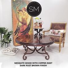 Solid Mesquite Reclaimed Wood Round Coffee Table - Bullnose / Coppertone / No Inlay