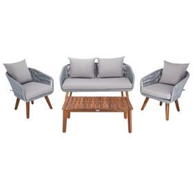 Prester 4pc Living Set - Grey Rope / Grey Cushion / Natural Legs