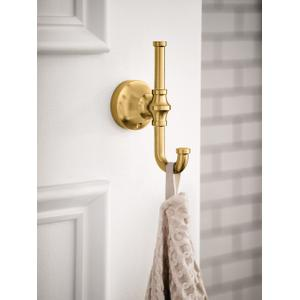 Colinet brushed gold double robe hook