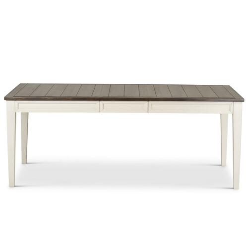 "Cayla 64-80 inch Table w/16"" Leaf - Dark Oak& White"