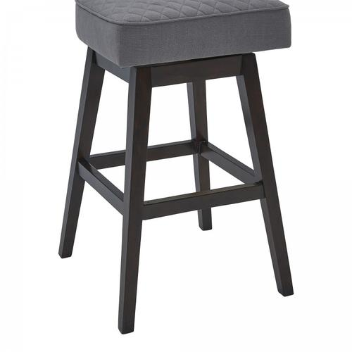 """Armen Living Gia 26"""" Counter Height Barstool in Espresso Finish and Grey Fabric"""