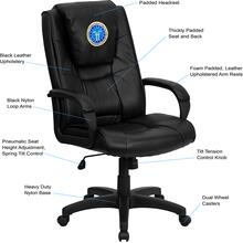 Dreamweaver Personalized Black Leather Executive Swivel Chair with Arms