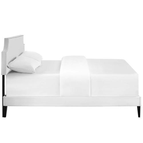 Corene Full Vinyl Platform Bed with Squared Tapered Legs in White