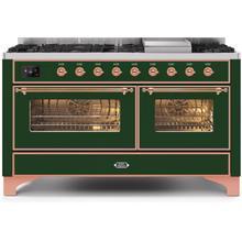 Majestic II 60 Inch Dual Fuel Liquid Propane Freestanding Range in Emerald Green with Copper Trim