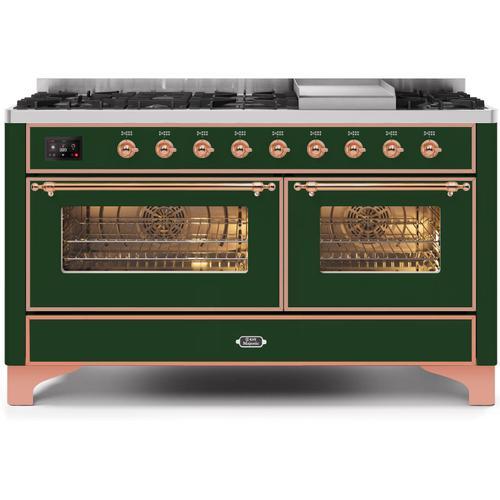 Ilve - Majestic II 60 Inch Dual Fuel Liquid Propane Freestanding Range in Emerald Green with Copper Trim