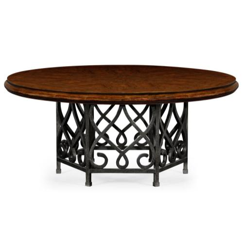 Rustic walnut dining table with wrought iron base