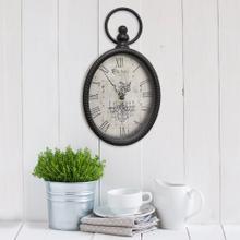 "6.75"" X 2"" X 11.5"" Antique Black Oval Wall Clock"