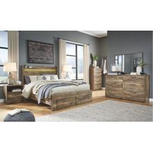 Queen Panel Bed With 2 Storage Drawers With Mirrored Dresser, Chest and 2 Nightstands