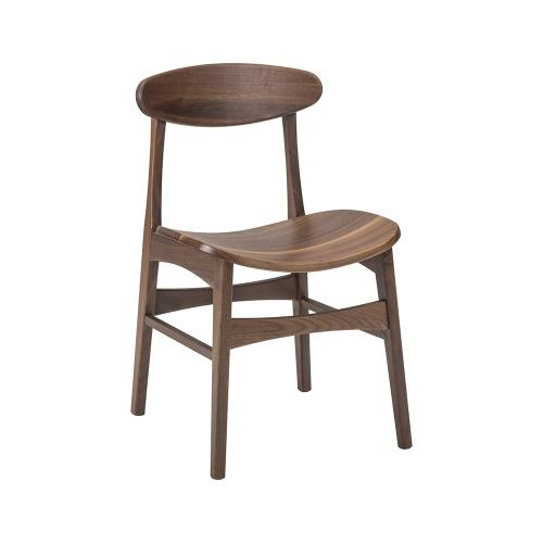 White River Walnut Side Chair With Wood Seat