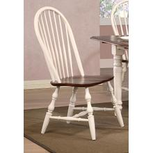 DLU-C30-AW-2  Andrews Windsor Spindleback Dining Chair  Antique White with Chestnut Seat  Set of 2
