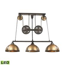 See Details - Torque 3-Light Island Light in Vintage Brass and Rust with Metal Shade - Includes LED Bulbs