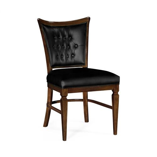 Calista Dining Side Chair, Upholstered in Black Leather