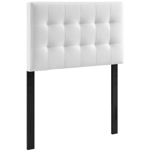 Lily Twin Upholstered Vinyl Headboard in White