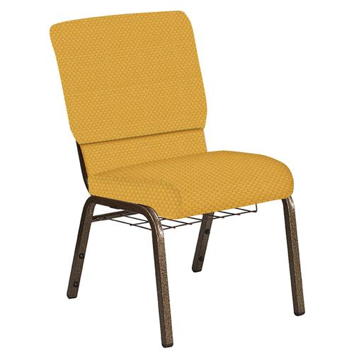 Flash Furniture - 18.5''W Church Chair in Canterbury Sand Fabric with Book Rack - Gold Vein Frame