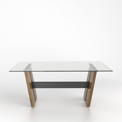 Canadel - Rectangular glass table with pedestal