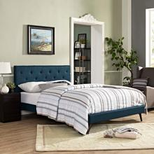 View Product - Tarah King Fabric Platform Bed with Round Splayed Legs in Azure