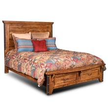 See Details - Rustic City Queen Bed w/ Footboard Storage Drawers