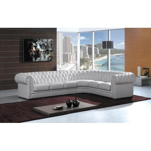 Divani Casa Paris 1R - Transitional Tufted Leather Sectional Sofa
