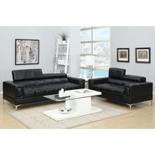 Gerardo 2pc Loveseat & Sofa Set, Black-bonded-leather
