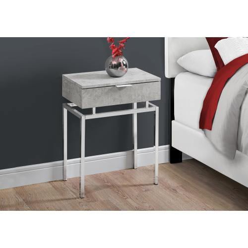 """Gallery - ACCENT TABLE - 24""""H / GREY CEMENT / CHROME METAL"""