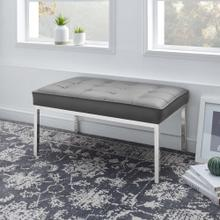 Loft Tufted Medium Upholstered Faux Leather Bench in Silver Gray