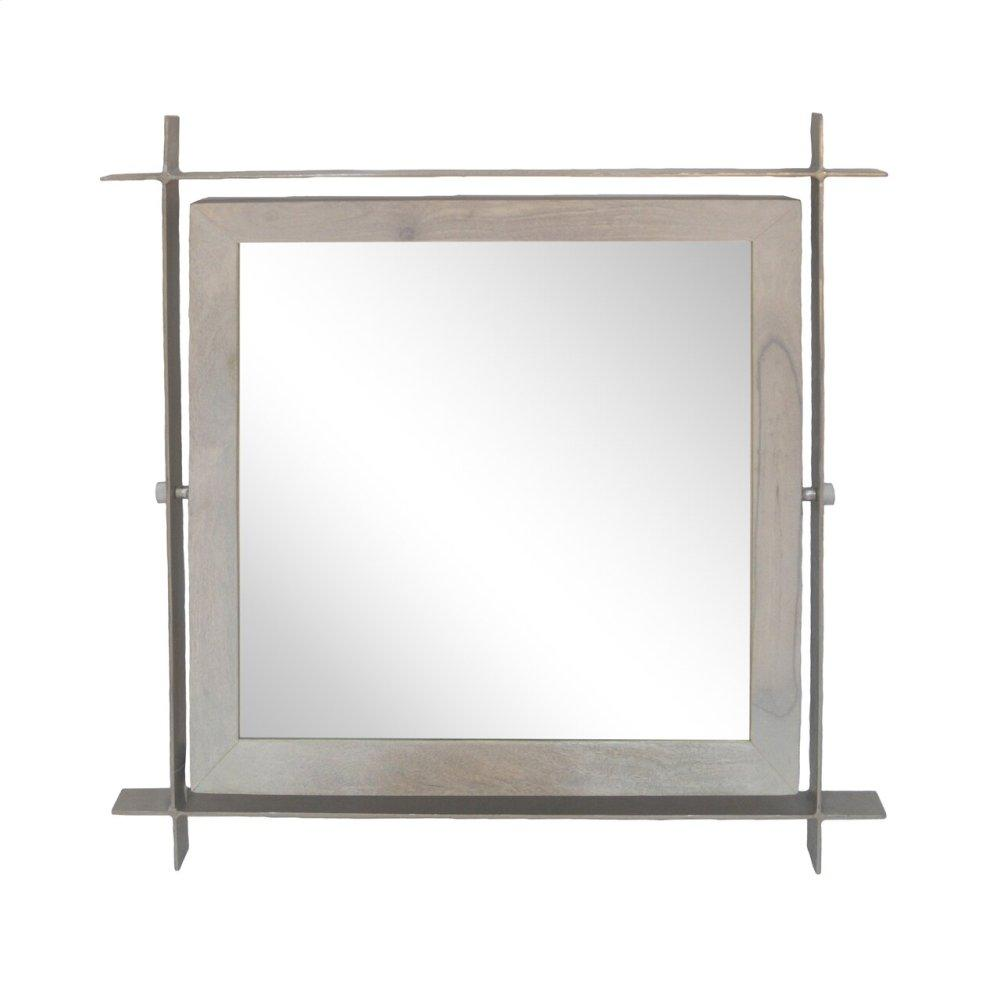 Light Wood/silver Square Mirror