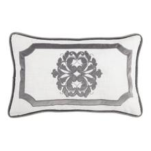 Madison Oblong White Linen Pillow W/ Velvet Embroidery (2 Colors) - Gray