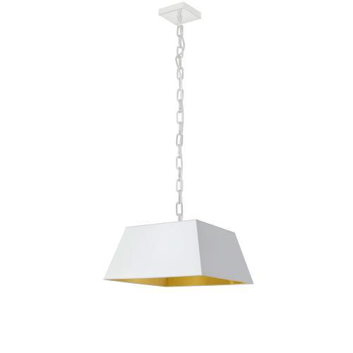 1lt Milano Small Pendant, Wht/gld Shade, Wht