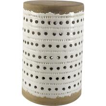 Thar II 11L x 11W White Glazed Cylindrical Ceramic W/ Tan Base Accent Table