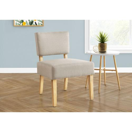 Gallery - ACCENT CHAIR - TAUPE FABRIC / NATURAL WOOD LEGS