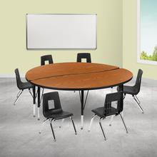 """60"""" Circle Wave Collaborative Laminate Activity Table Set with 12"""" Student Stack Chairs, Oak\/Black"""